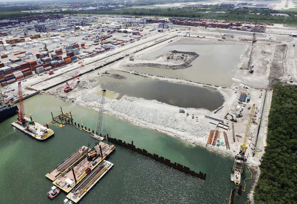 Steel Sheet Piling and Wide Flange Beams for Port Construction